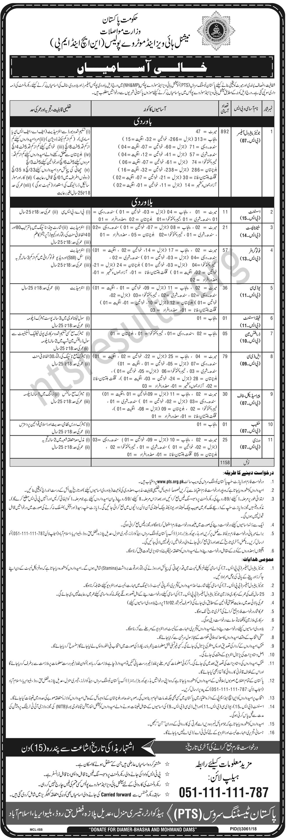 National Highway and Motorway Police NHMP Jobs PTS Test Roll No Slip