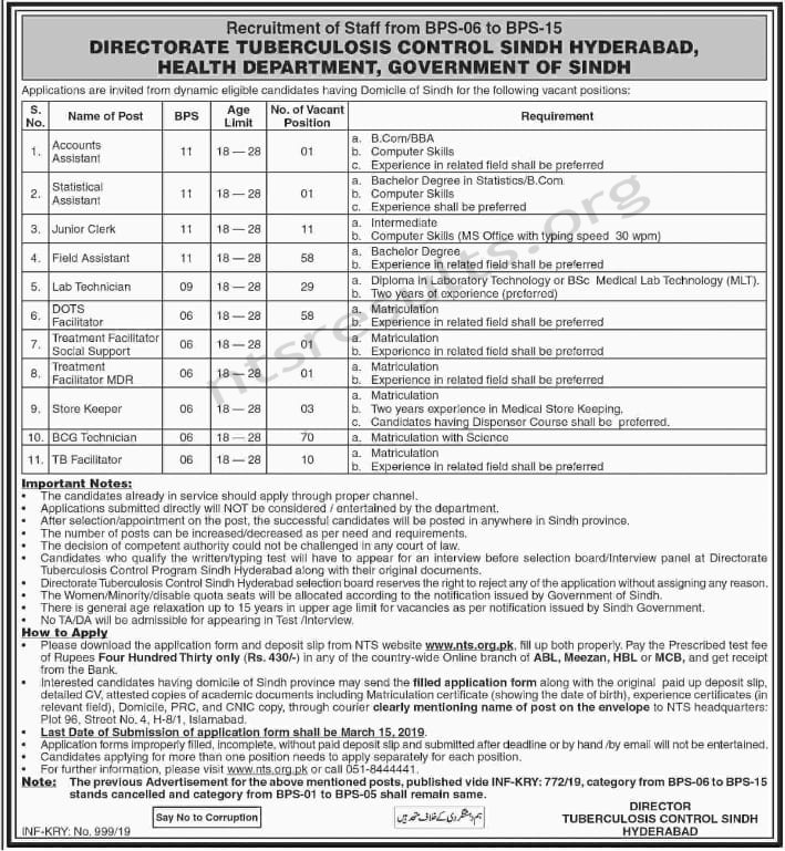 Directorate Tuberculosis Control Health Department Jobs NTS Test Roll No Slip