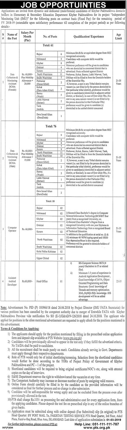 IMU Elementary Secondary Education Department KPK Jobs PTS Test Roll No Slip