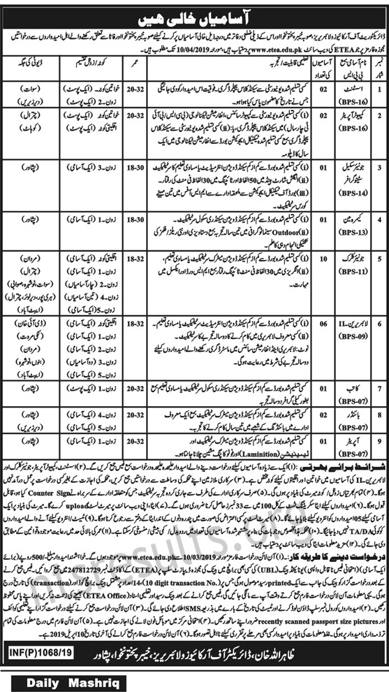 Directorate of Archives and Library KPK Jobs Via ETEA