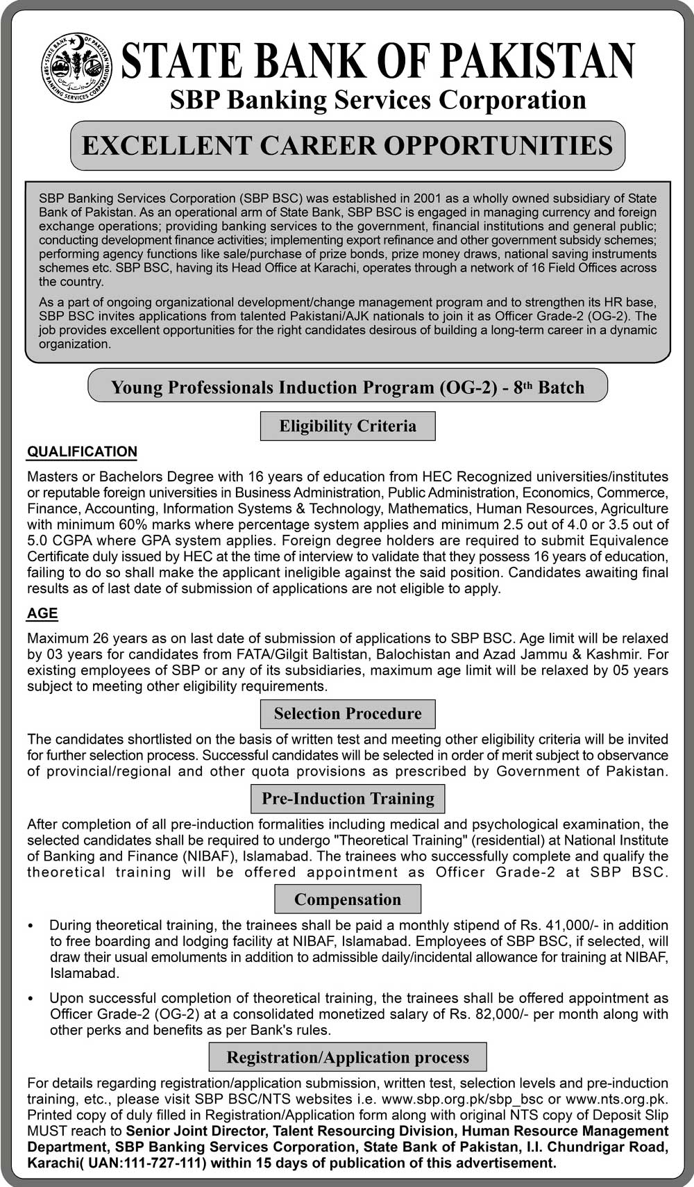 SBP Banking Services Corporation SBP BSC 8th Batch Young Professionals Induction Program OG 2 Jobs Via NTS