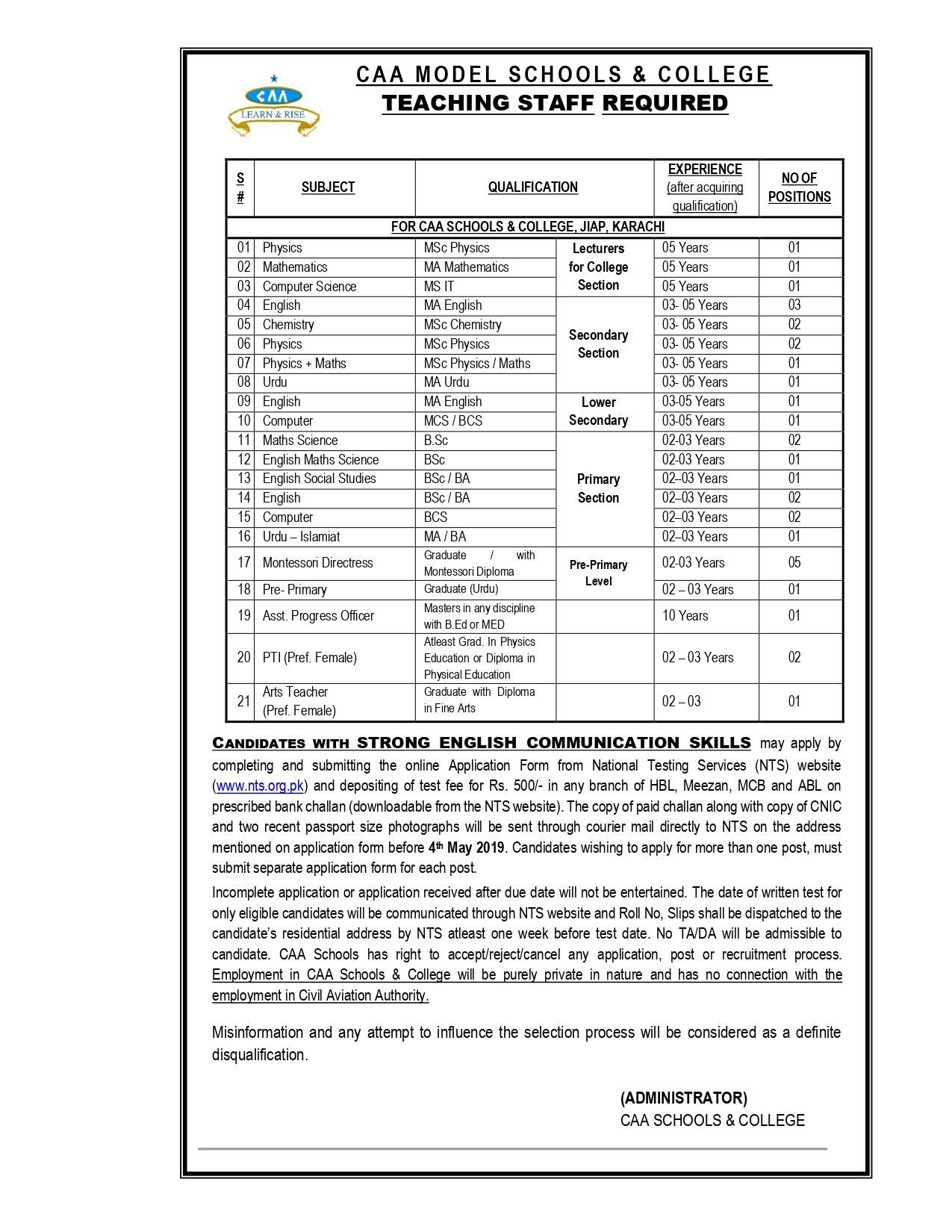 CAA Model Schools College JIAP Teaching Jobs NTS Test Roll No Slip
