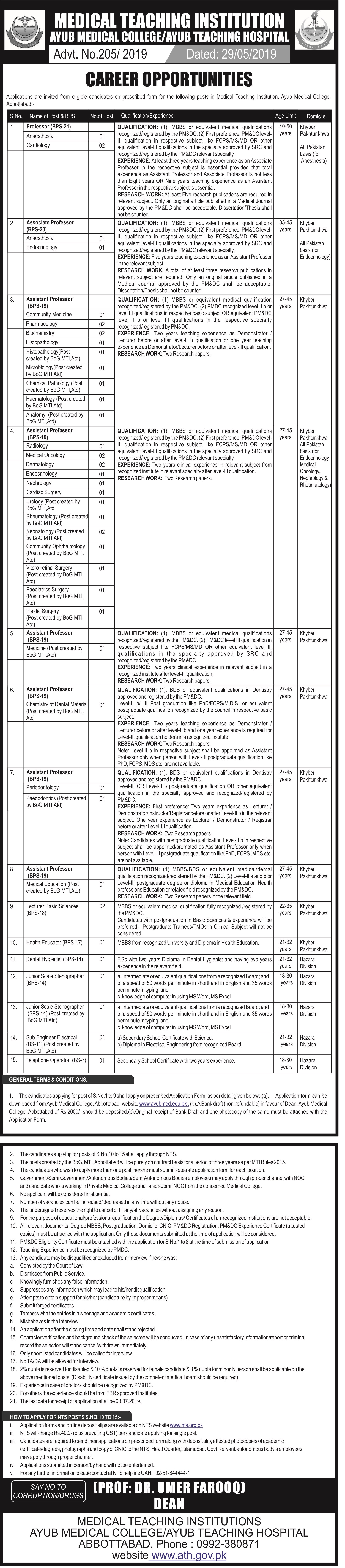 Medical Teaching Institution Ayub Medical College Abbottabad Jobs NTS Test Answer Keys Result