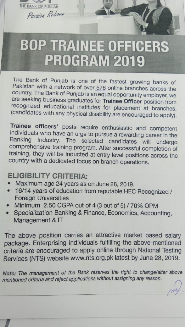 The Bank of Punjab BOP Trainee Officers Program NTS Test Result