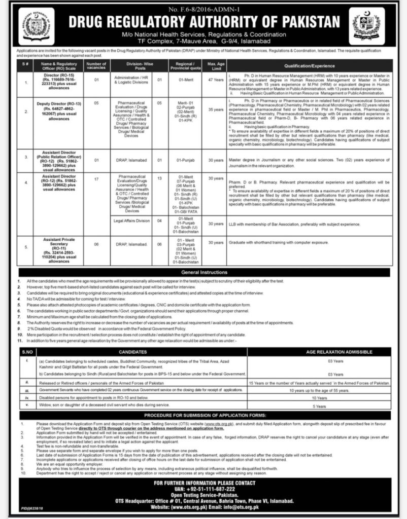 Drug Regulatory Authority Of Pakistan DRAP Jobs OTS Test Roll No Slip