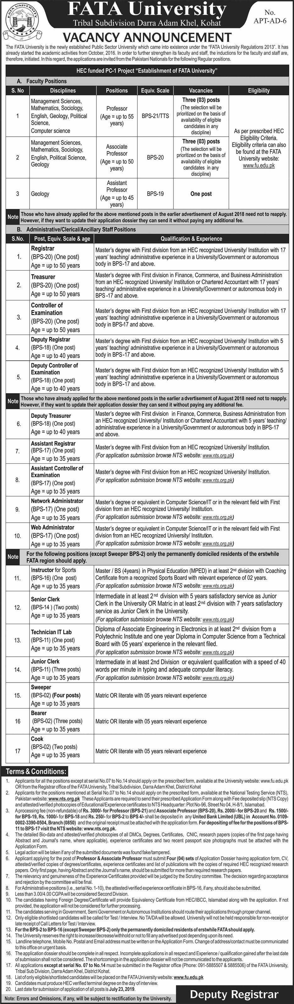 FATA University FU Jobs Via NTS