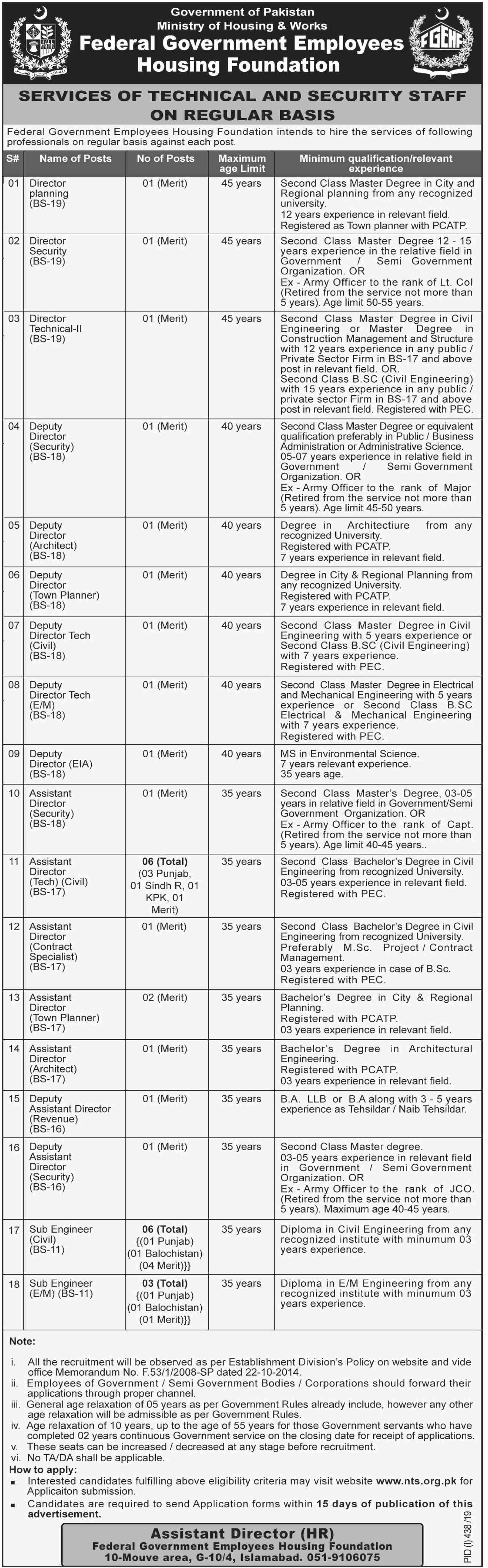 Federal Government Employees Housing Foundation FGEHF Jobs Via NTS