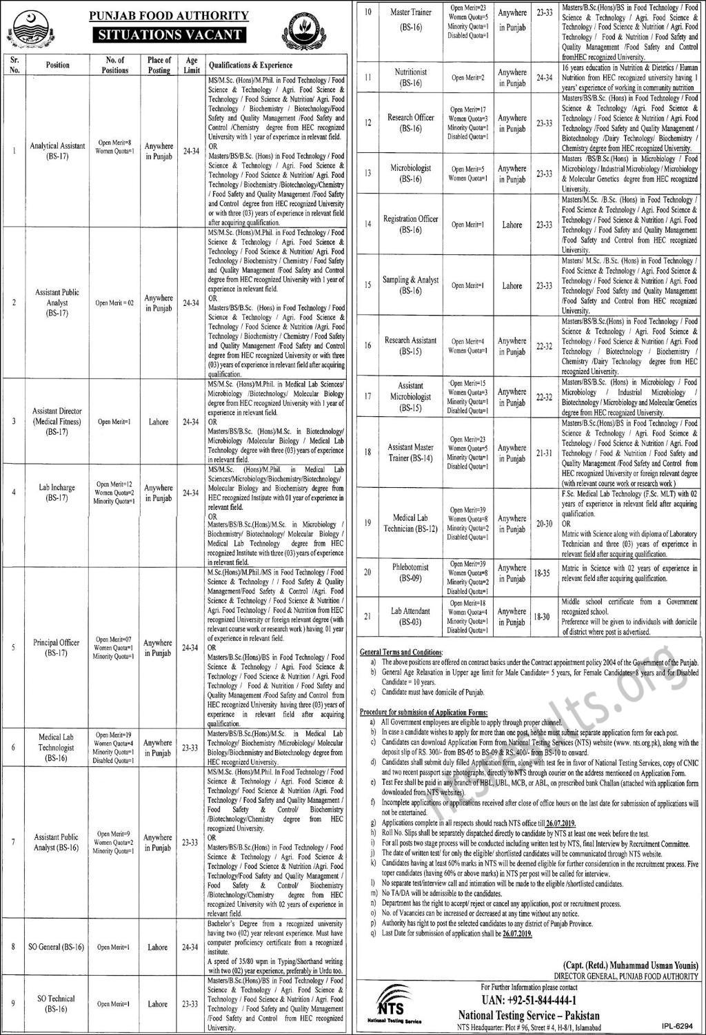 Punjab Food Authority PFA Jobs NTS Test Roll No Slip
