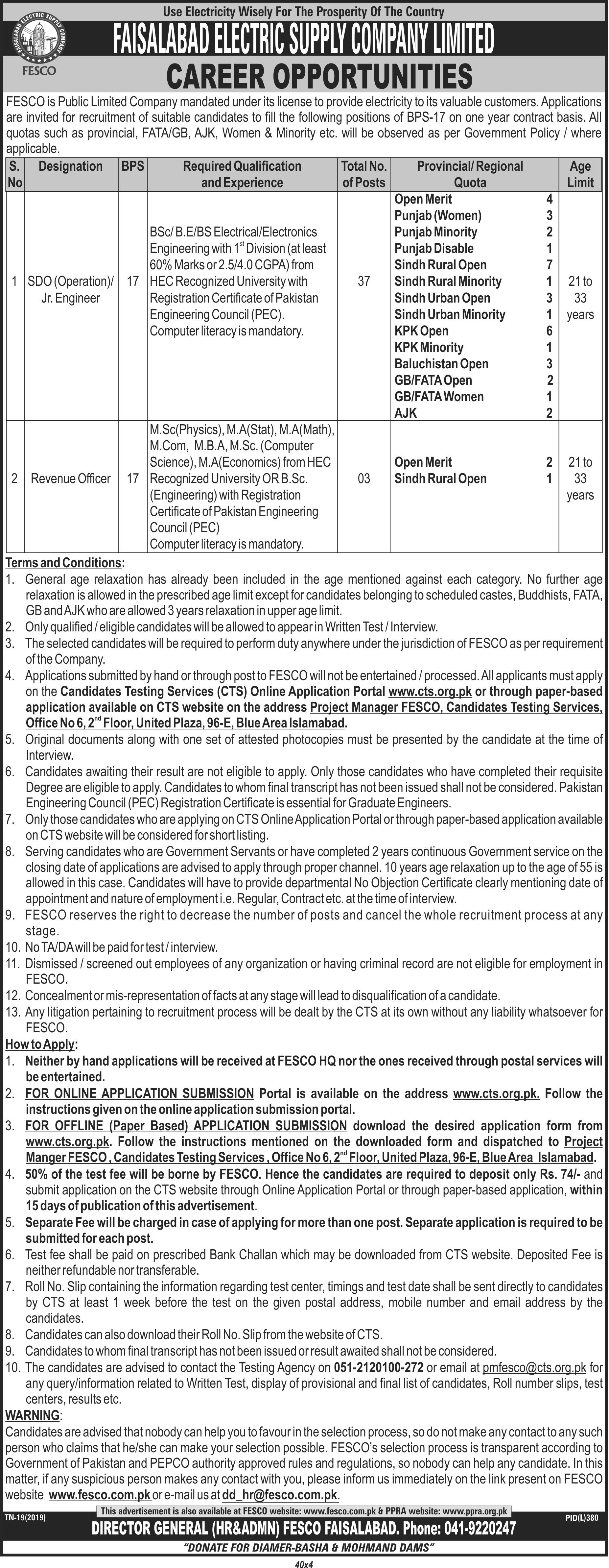 Faisalabad Electric Supply Company FESCO Jobs Via CTS