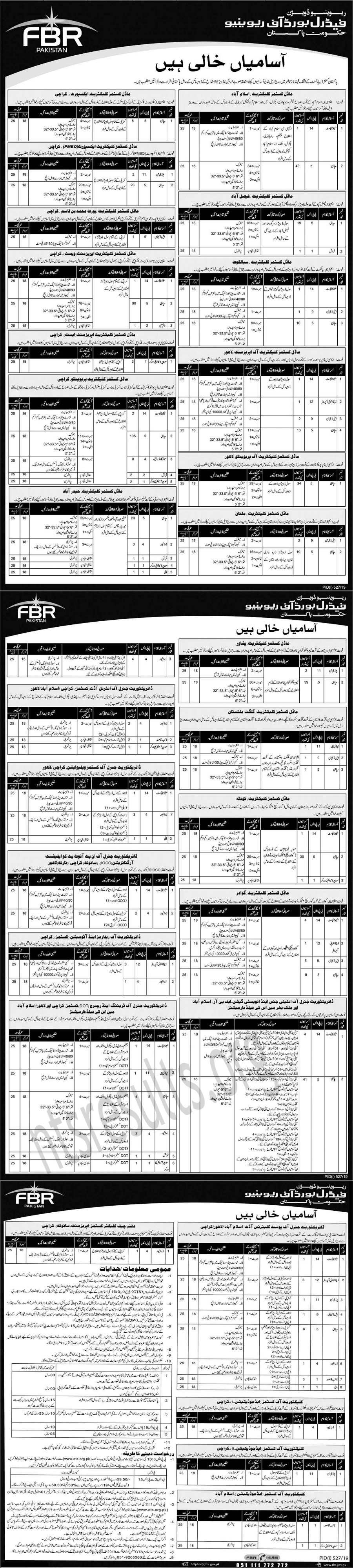 Federal Board of Revenue FBR Jobs OTS Test Roll No Slip