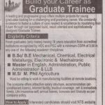 Graduate Trainee Leading Group of Manufacturing Industries NTS Test Roll No Slip