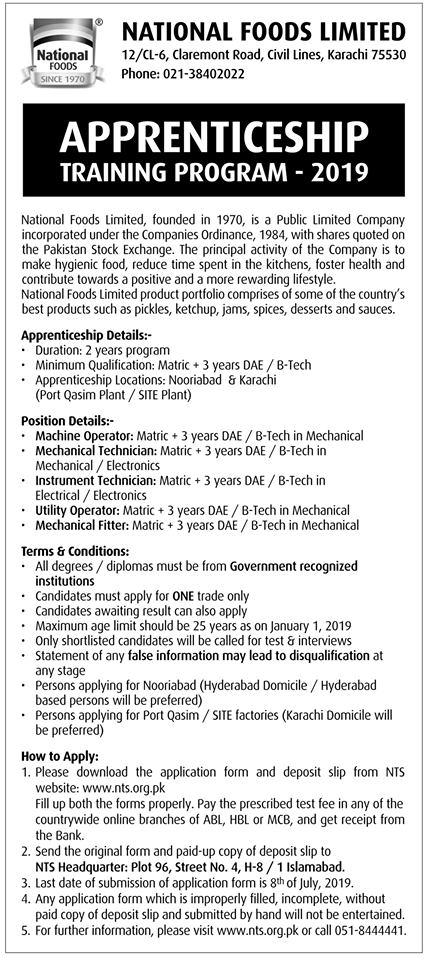 National Foods Limited Apprenticeship Training Program 2019 NTS Test Result
