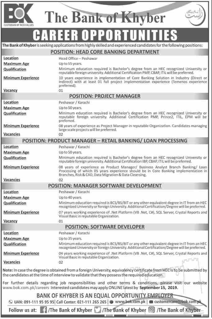 BOK Bank of Khyber Jobs 2019