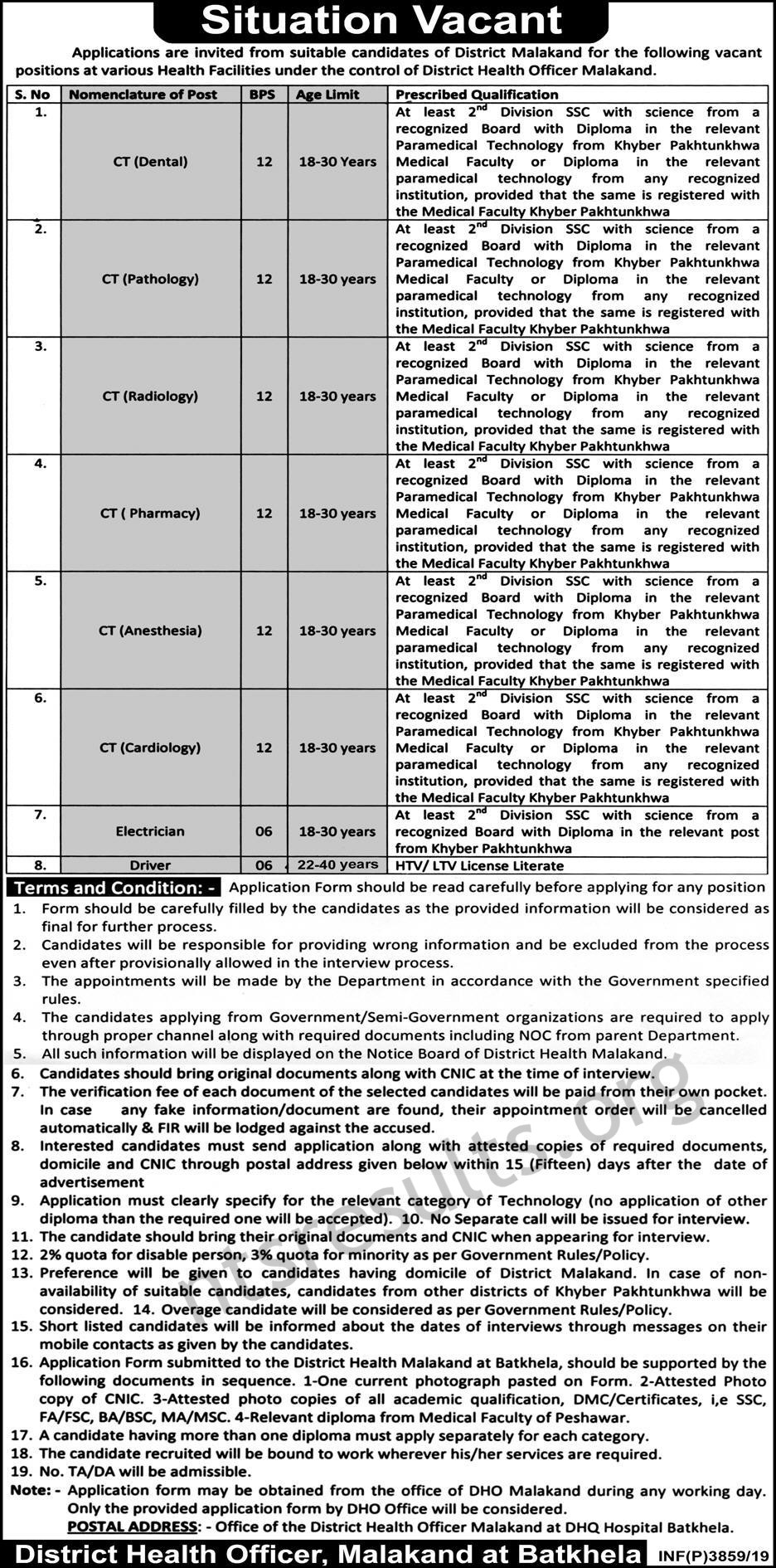 District Health Officer Malakand Jobs September 2019