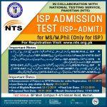 Institute of Southern Punjab ISP Multan MS MPhil Admission NTS Test Roll No Slip