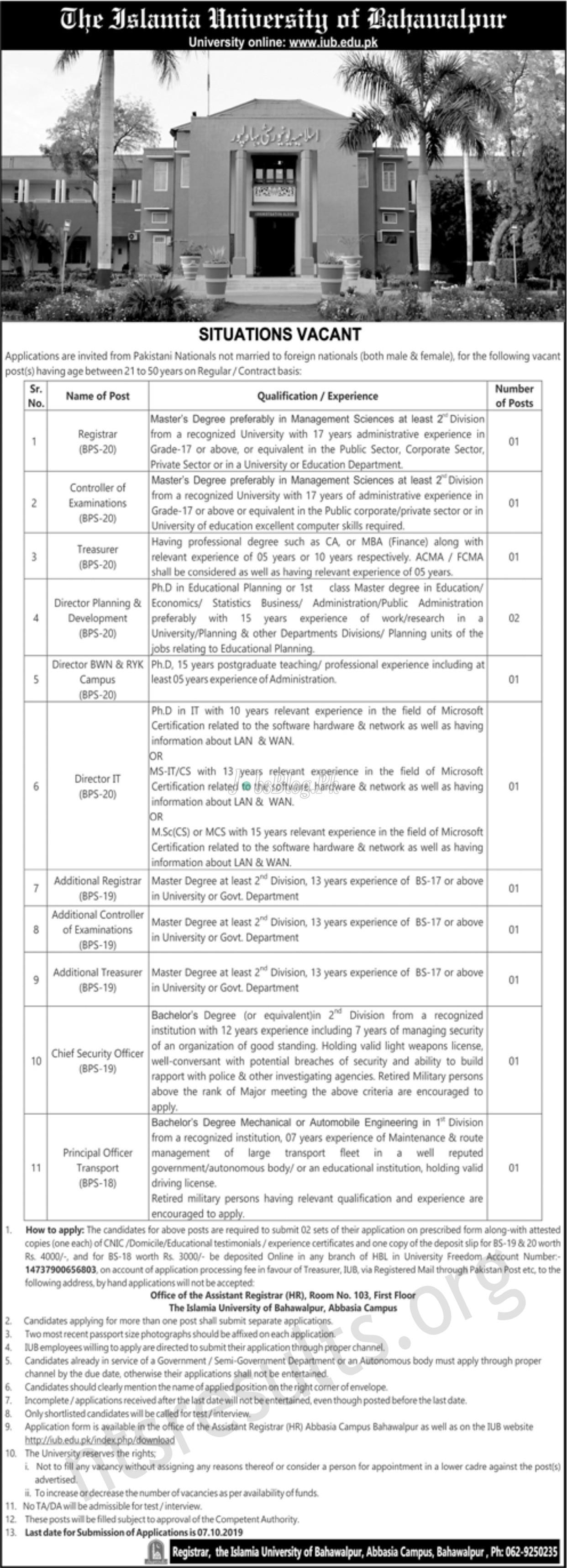 Islamia University of Bahawalpur IUB Jobs 2019