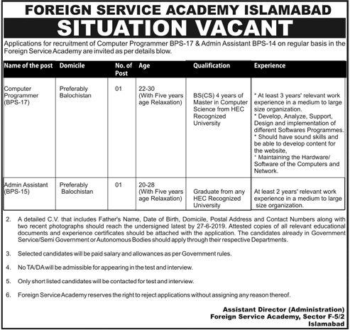 Foreign Service Academy FSA Jobs Islamabad NTS Test Result
