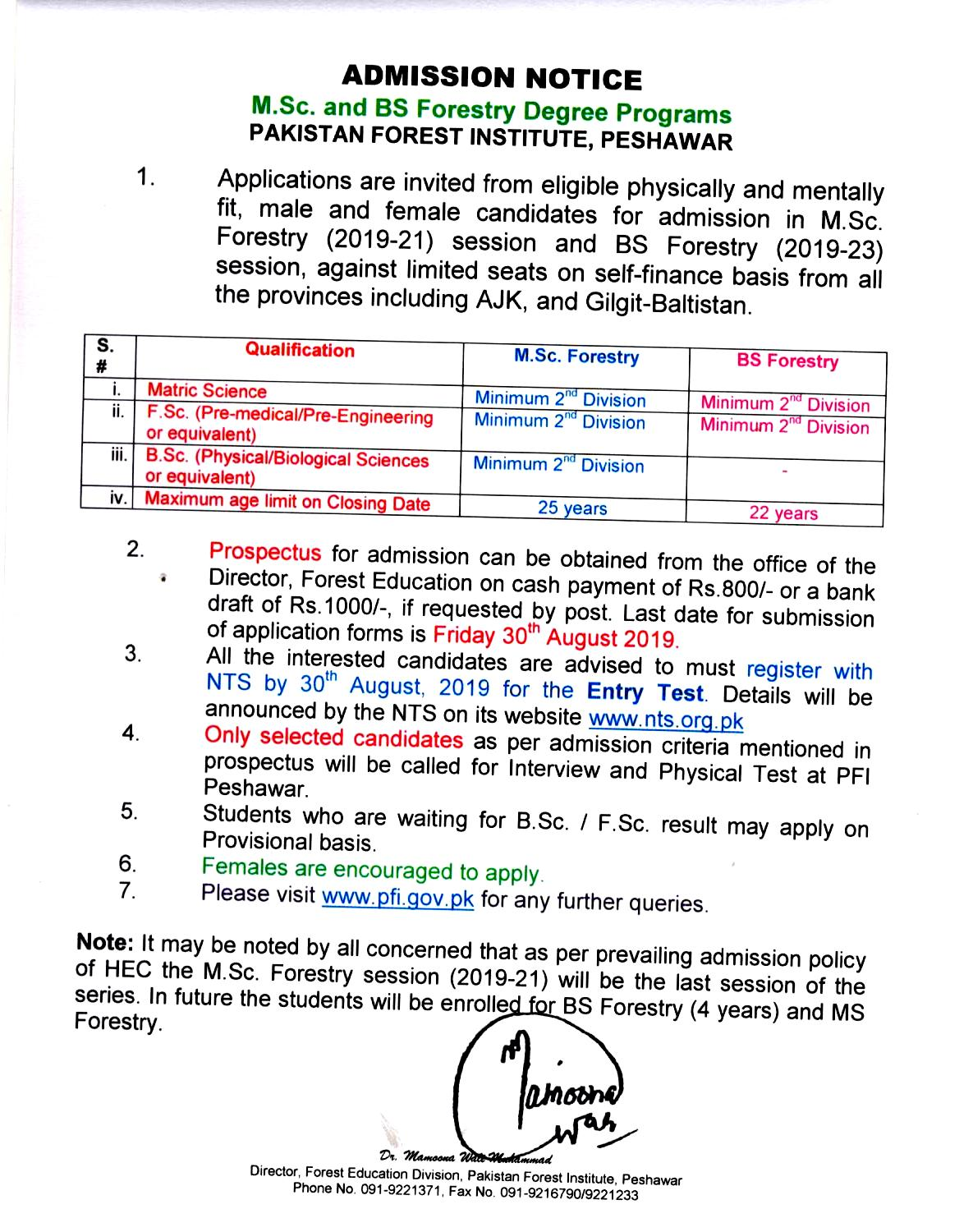 Pakistan Forest Institute PFI Peshawar BS Forestry MSC Forestry Admission NTS Test Result