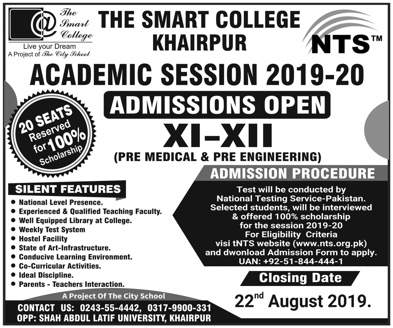 The Smart College Khairpur Admission Pre Medical Pre Engineering XI XII NTS Test Roll No Slip
