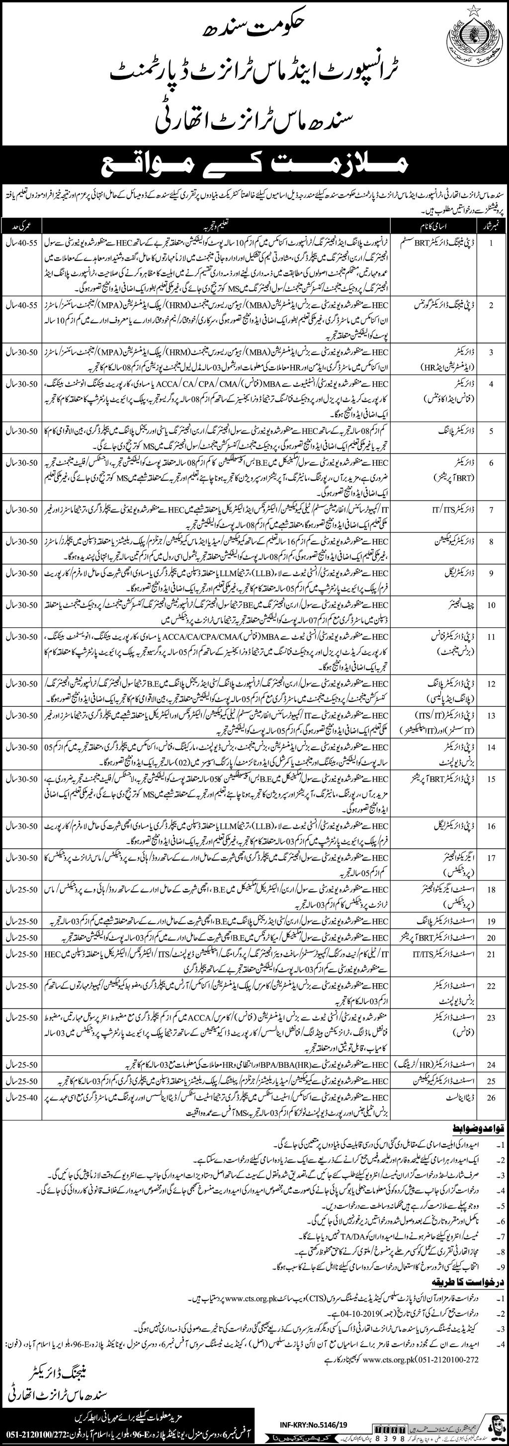 Sindh Mass Transit Authority Jobs 2019 Via CTS