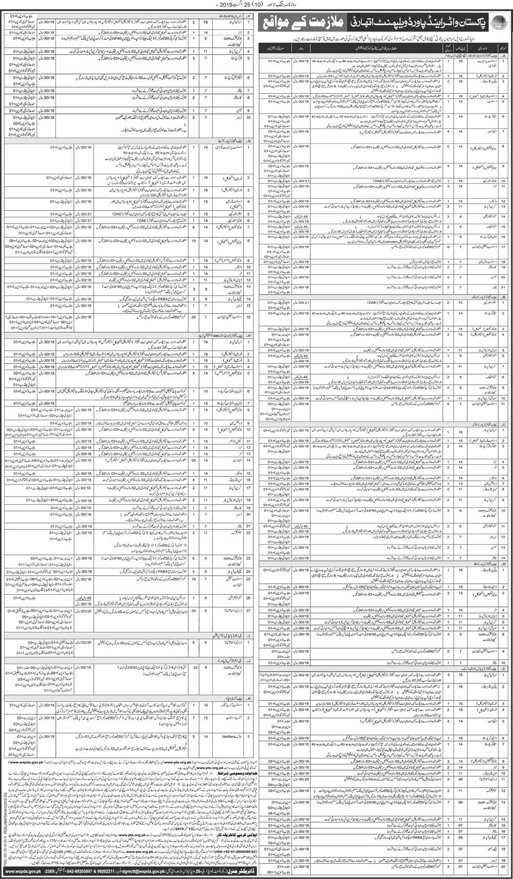 Water Power Development Authority Wapda Jobs Via PTS