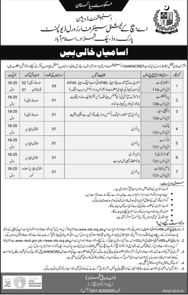 National Centre for Rural Development AHKNCRD Islamabad Jobs OTS Test Roll No Slip