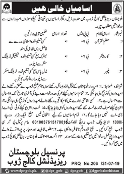 Baluchistan Residential College Zhob Jobs CTSP Test Answer Keys Result