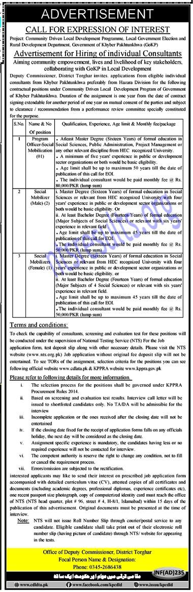 Deputy Commissioner Torghar CDLD Jobs Via NTS