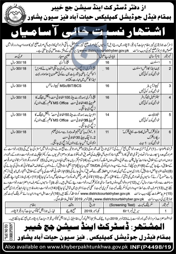 District and Session Judge Khyber Peshawar Hayatabad Jobs