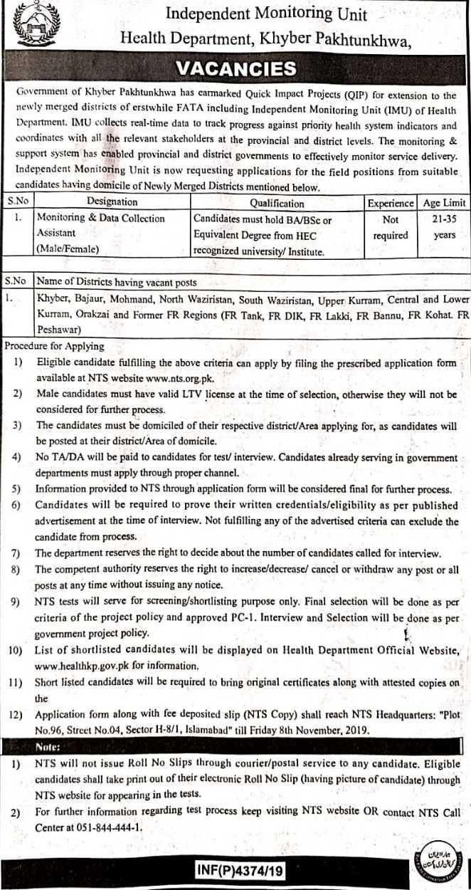 Independent Monitoring Unit IMU KPK Health Department Jobs Via NTS