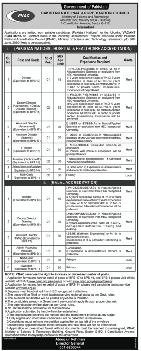 Pakistan National Accreditation Council PNAC Jobs CTS Test Roll No Slip
