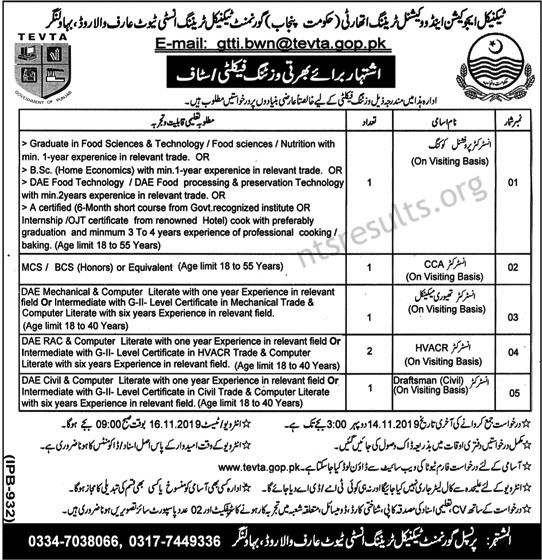 Technical Education and Vocational Training Authority TEVTA Bahawalnagar Jobs