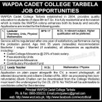 WAPDA Cadet College Tarbela WCCT Jobs 2019