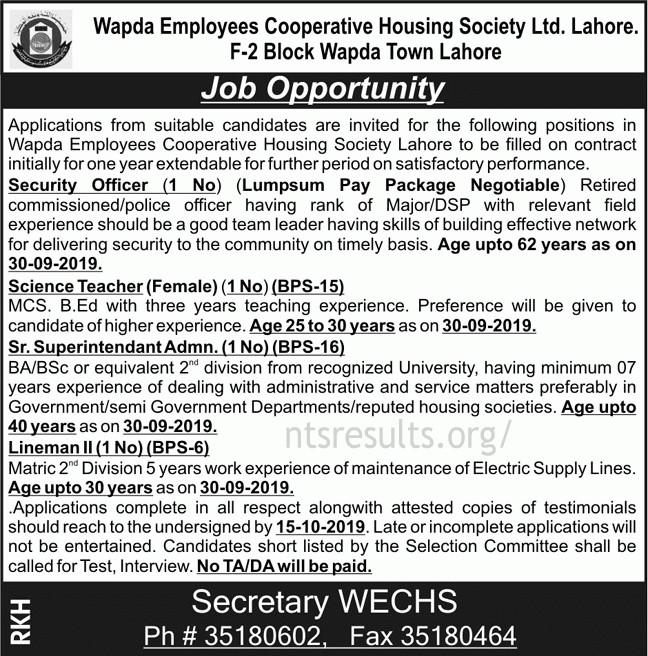 Wapda Employees Cooperative Society Ltd Lahore WECHS Jobs