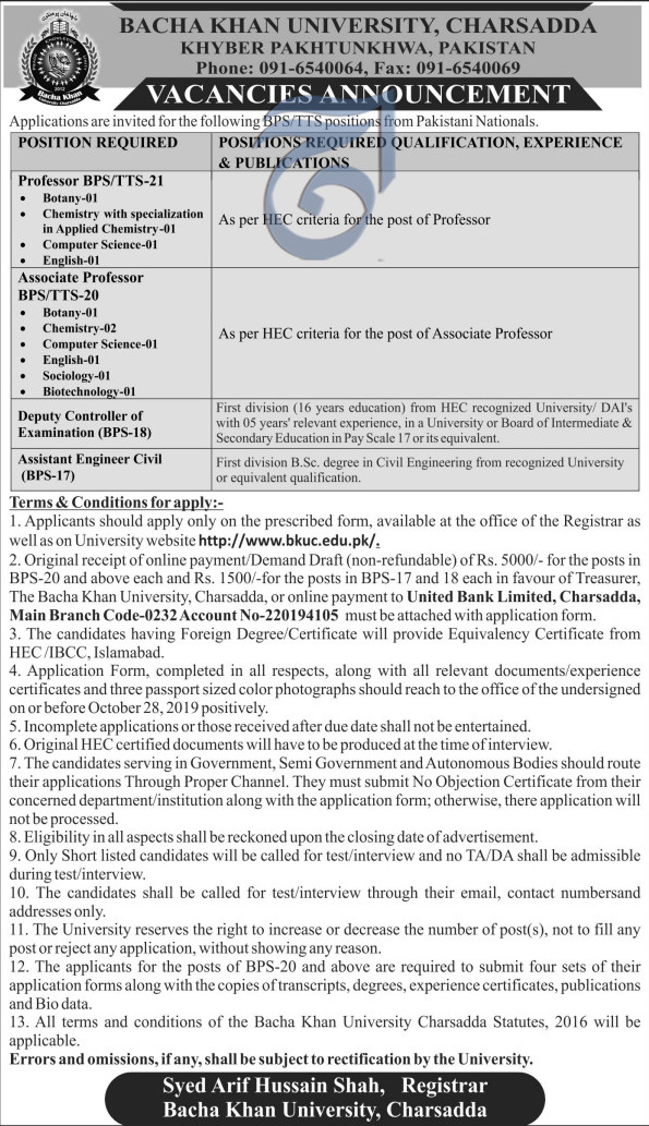 Bacha Khan University Charsadda Jobs October 2019