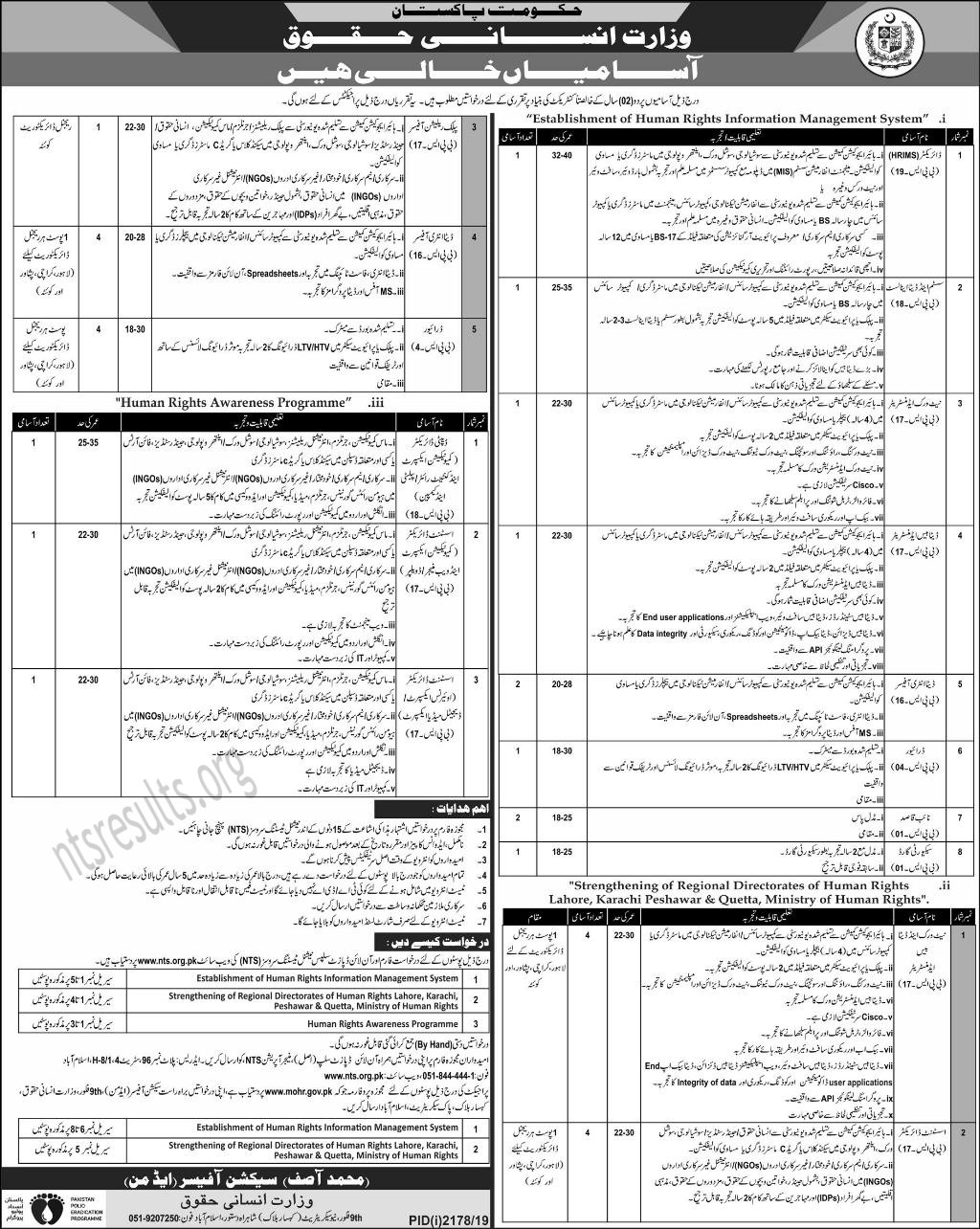 Ministry of Human Rights MOHR Jobs 2019 Via NTS