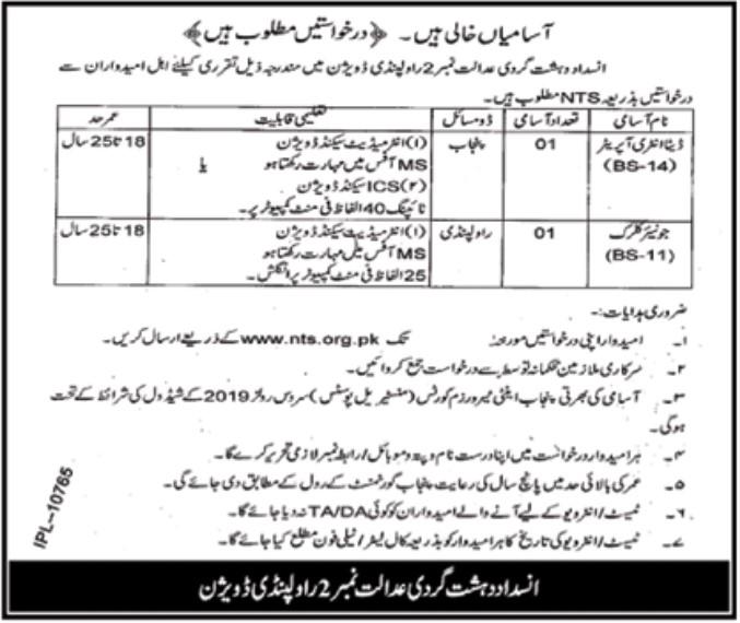 Anti Terrorism Court Rawalpindi Jobs Via NTS