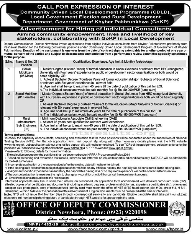 Deputy Commissioner Nowshera CDLD Jobs NTS Test Roll No Slip