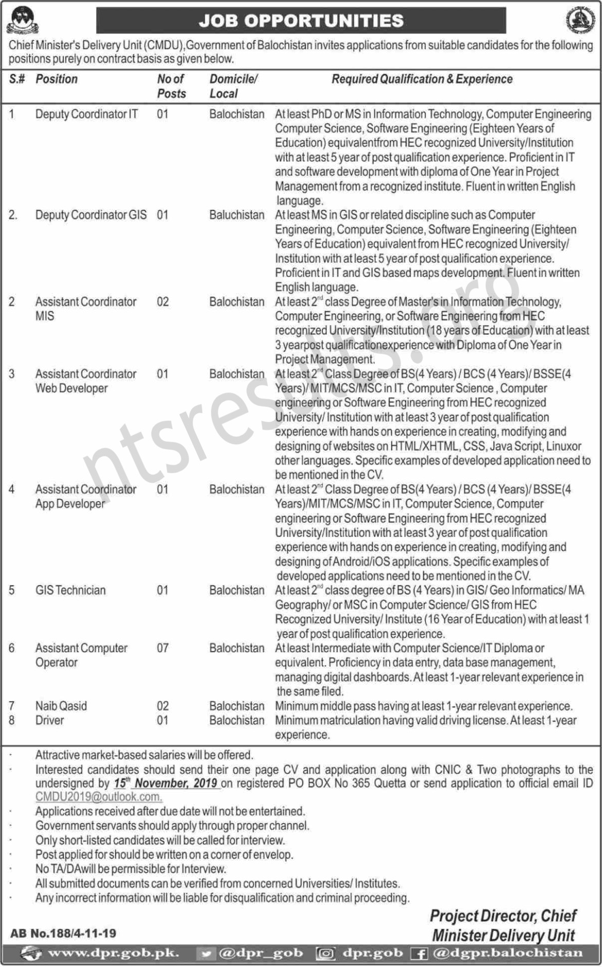 Chief Minister Delivery Unit CMDU Jobs