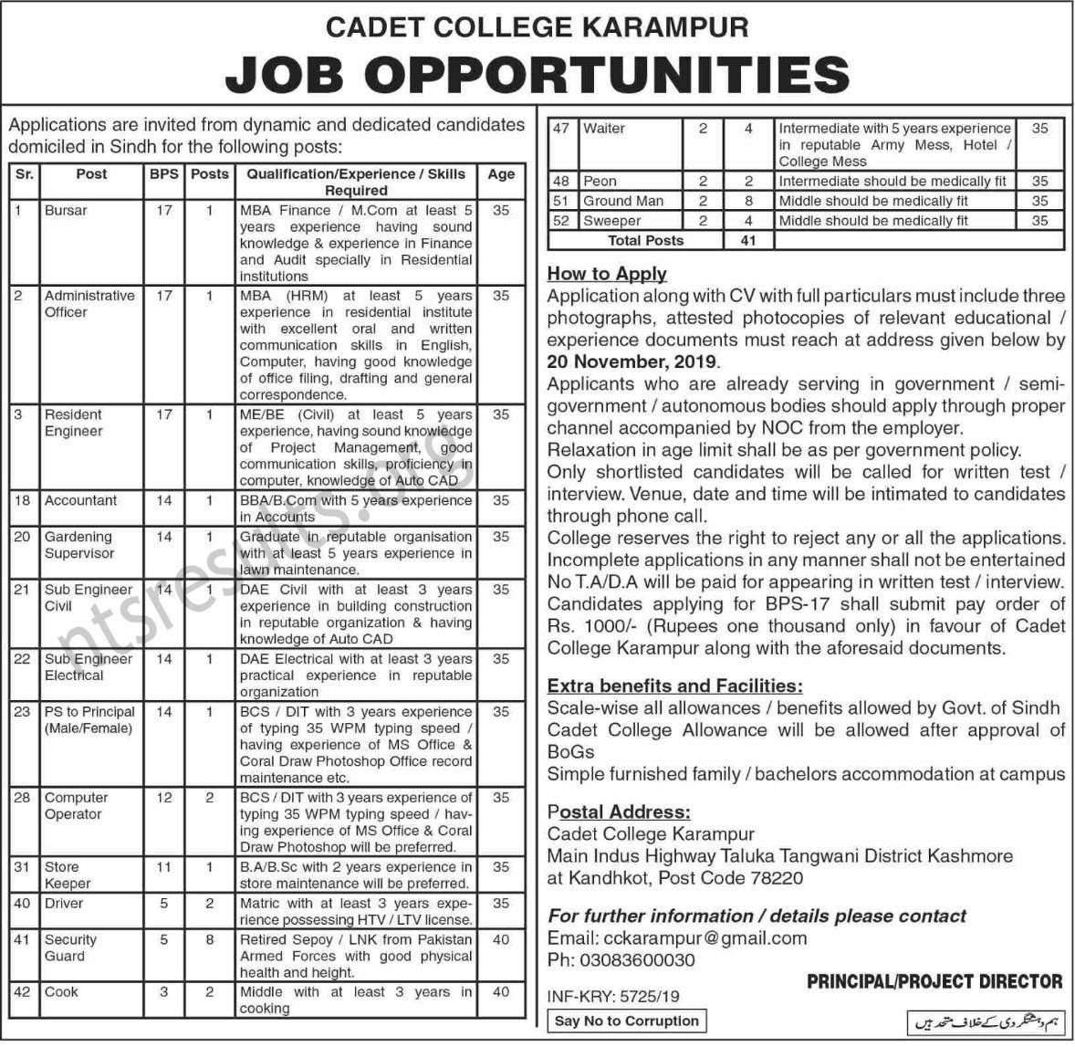 Cadet College Karampur Jobs Kashmore Sindh