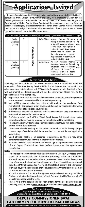 Deputy Commissioner Swat Office CDLD Jobs NTS Test Roll No Slip