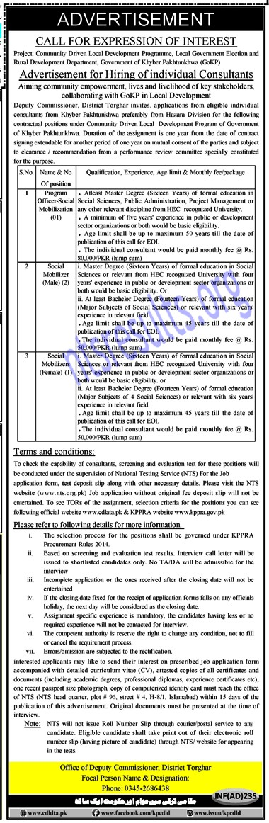 Deputy Commissioner Office Torghar CDLD Jobs NTS Test Roll No Slip