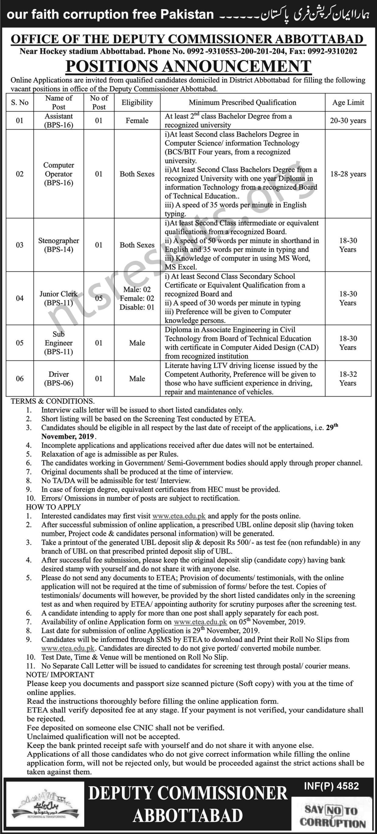 Deputy Commissioner Office Abbottabad Jobs Via ETEA
