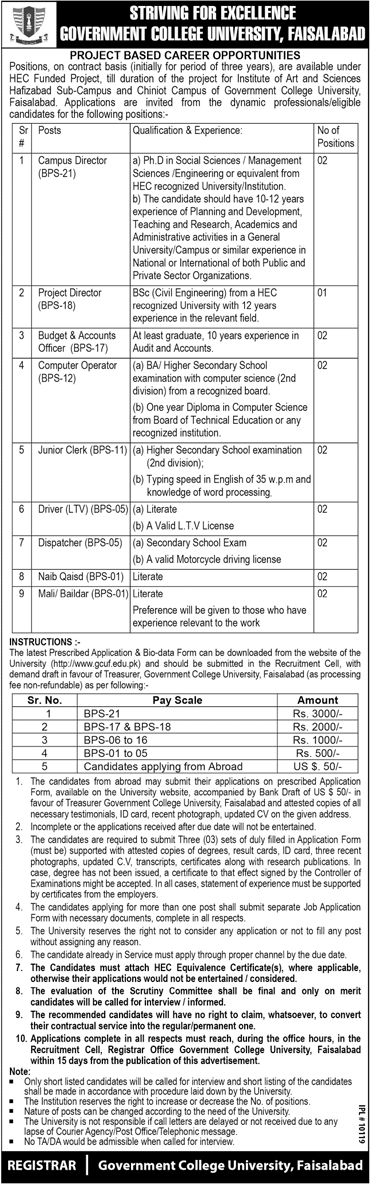 GCUF Govt College University Faisalabad Jobs Hafizabad Chiniot Campus