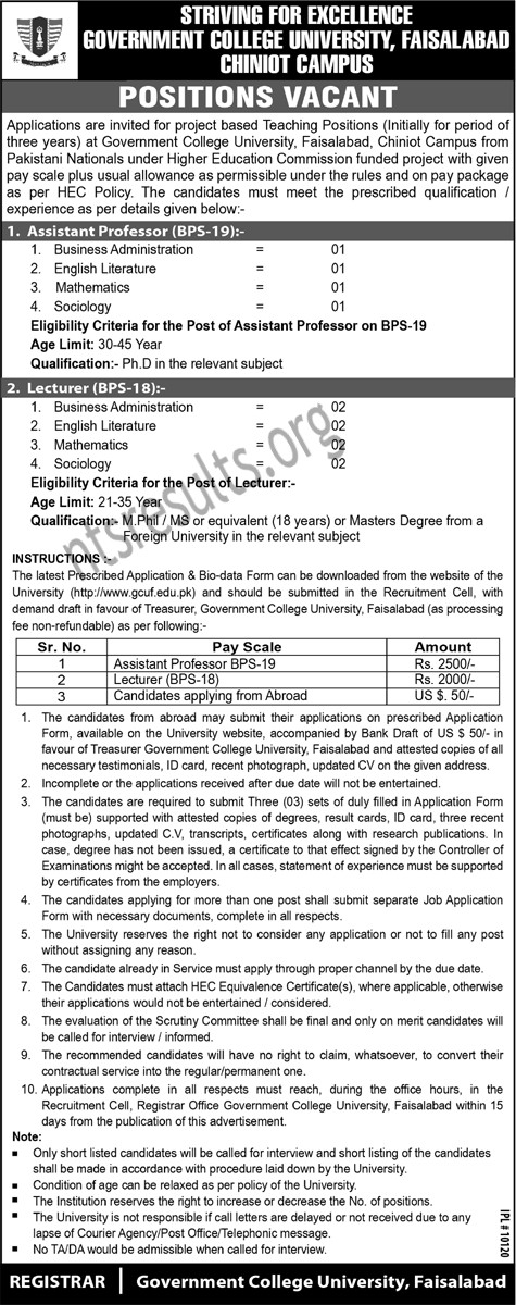 Govt College University Faisalabad GCUF Jobs Chiniot Campus