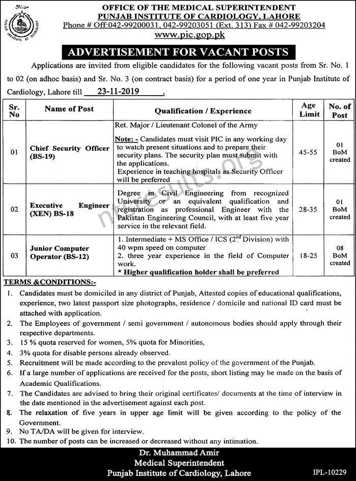 Punjab Institute Of Cardiology PIC Jobs Lahore