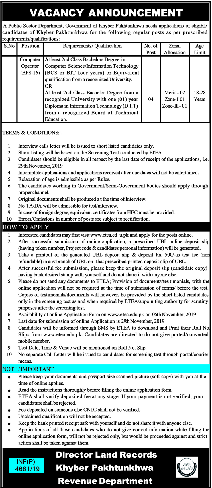 Revenue Department Land Records KPK Jobs ETEA Test Roll No Slip