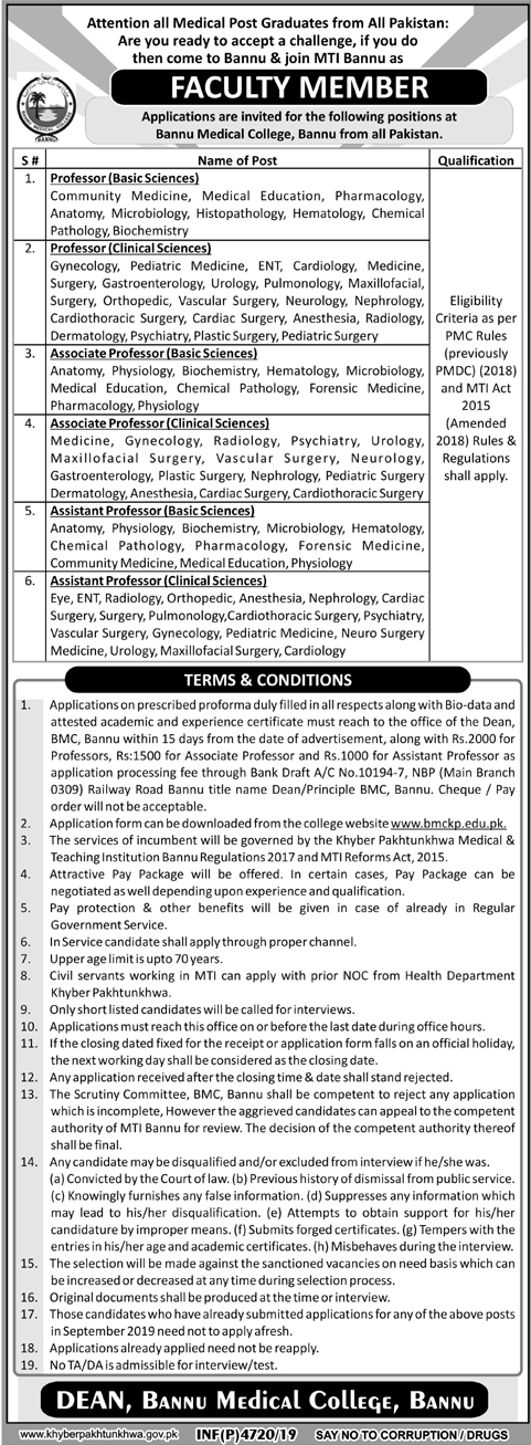Bannu Medical College Jobs BMCKP November 2019