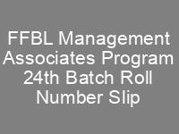 FFBL Management Associates Program 24th Batch Jobs NTS Test Roll No Slip