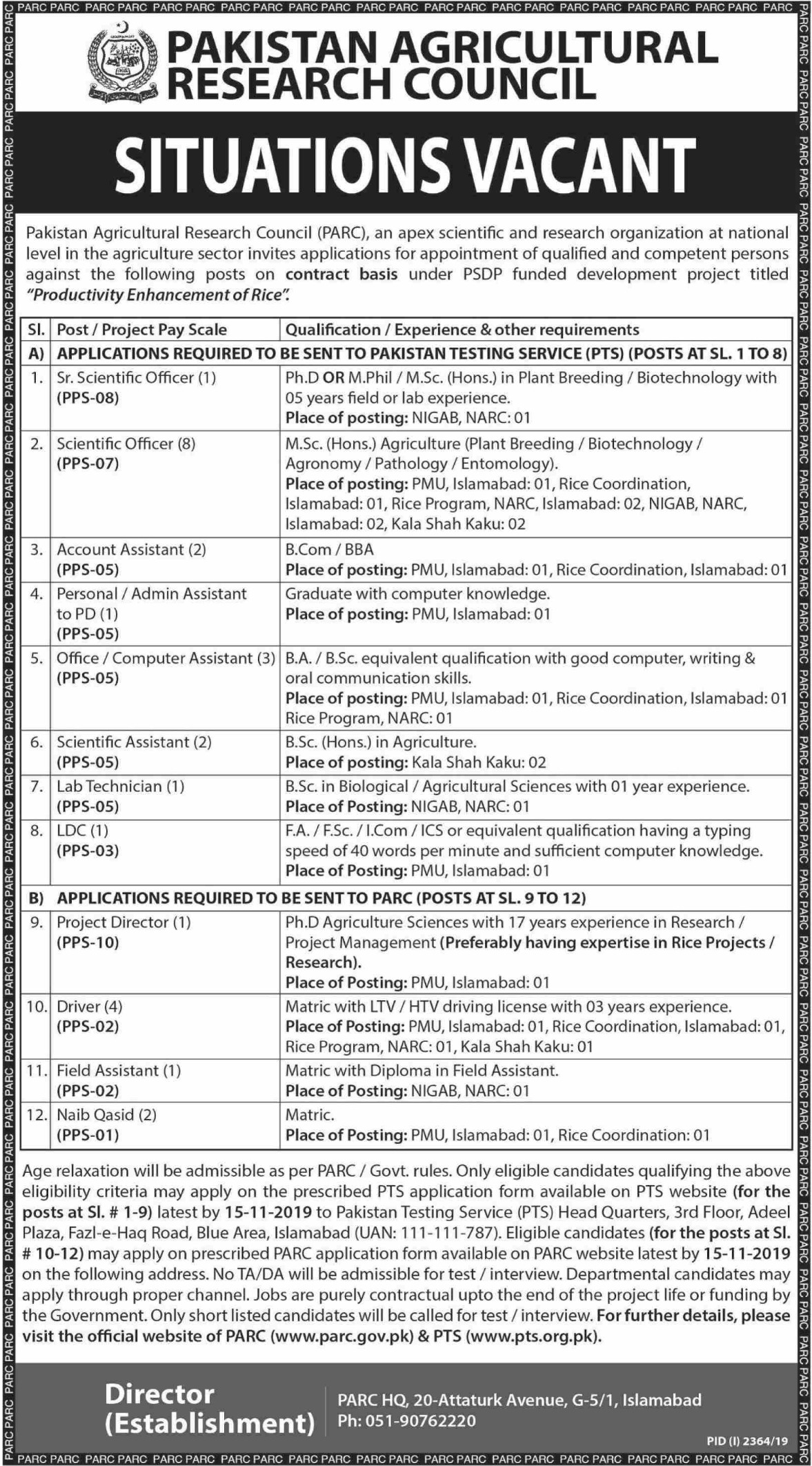 Pakistan Agricultural Research Council PARC Jobs Via PTS
